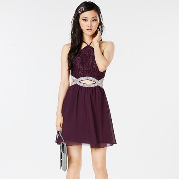 Juniors Embellished Cut Out Dress